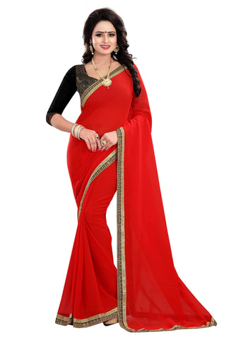Red Color Georgette Saree - SOFFY-RED