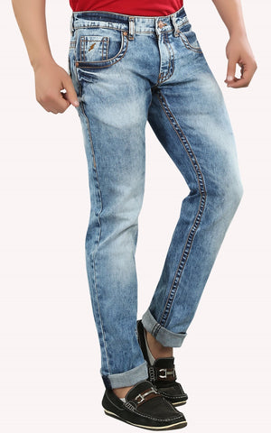 Blue Color Cotton Lycra Mens Jeans - SPJN031