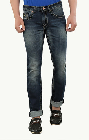 Blue Color Cotton Lycra Men's Jeans - SPJN034