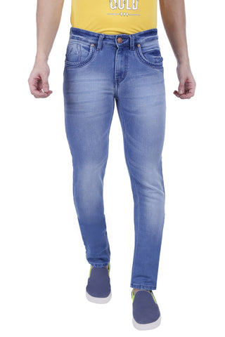 Light Blue Color Cotton Lycra Mens Jeans - SPJN063