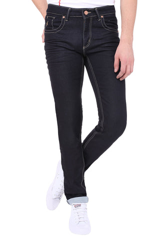Black Color Cotton Lycra Mens Jeans - SPJN081