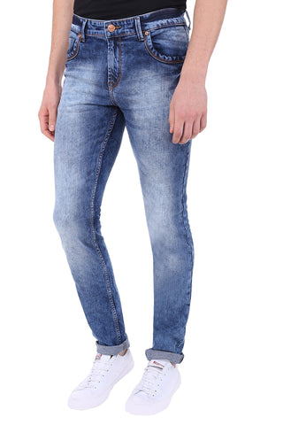 Blue Color Cotton Lycra Mens Jeans - SPJN099