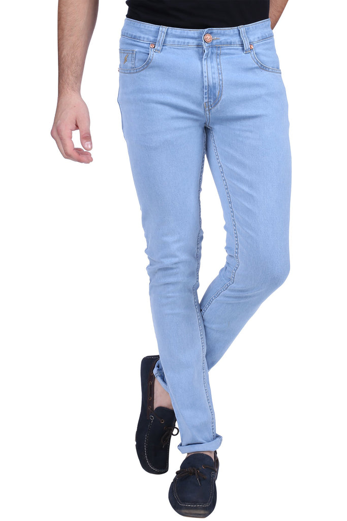 Buy Light Blue Color Cotton Lycra Mens Jeans
