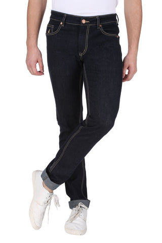 Dark Blue Color Cotton Lycra Mens Jeans - SPJN123
