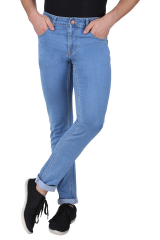 Light Blue Color Cotton Lycra Mens Jeans - SPJN132