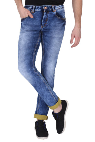 Light Blue Color Cotton Lycra Mens Jeans - SPJN411