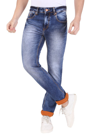 Light Blue Color Cotton Lycra Mens Jeans - SPJN666