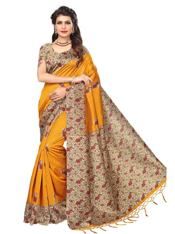 Yellow Color Art Silk Saree - SRJA033