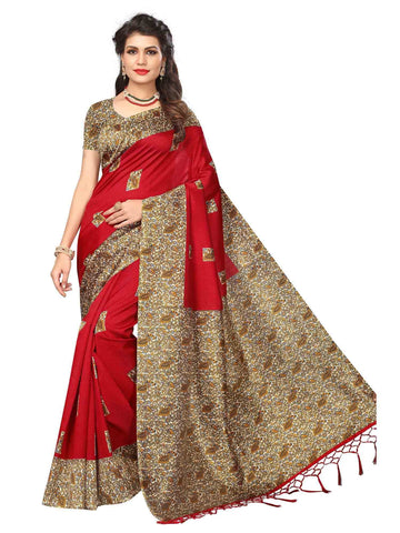 Red Color Art Silk Saree - SRJA035