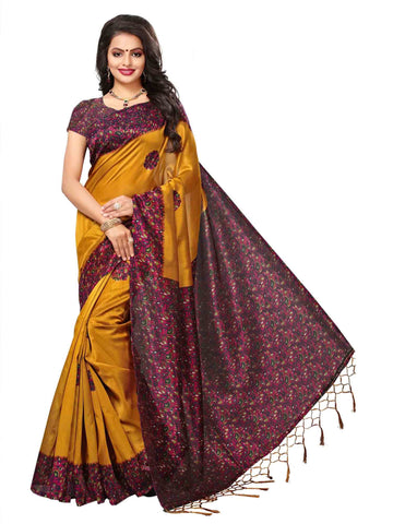 Yellow Color Art Silk Saree - SRJK054