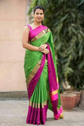 Green And Pink Color Cotton Silk Saree - SRP-02GreenPink