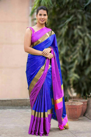 Blue And Pink Color Cotton Silk Saree - SRP-03BluePink