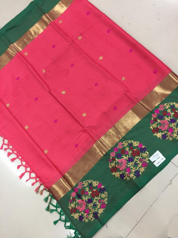 Peach Color Soft Cotton Silk Saree - SRP-05AngiPeach