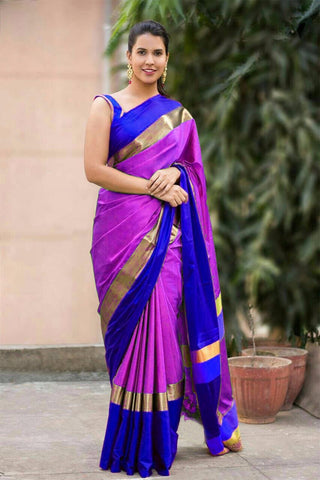 Pink And Blue Color Cotton Silk Saree - SRP-05PinkBlue