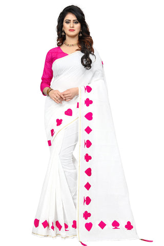 Pink Color Chanderi Cotton Saree - SRP-08-PATA Pink