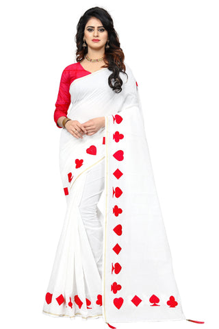 Red Color Chanderi Cotton Saree - SRP-08-PATA Red