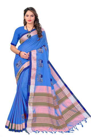 Blue Color Linen Cotton Saree - SRP-112Blue