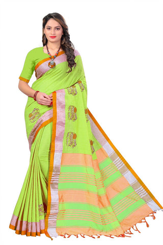 Parrot Color Linen Cotton Saree - SRP-112Parrot
