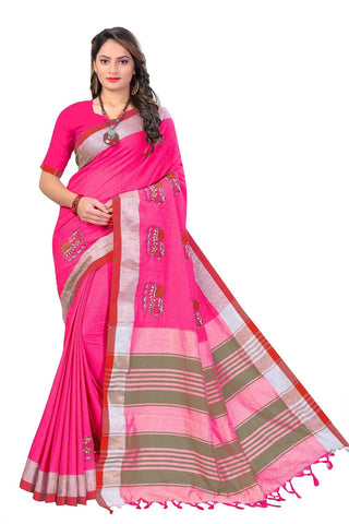 Pink Color Linen Cotton Saree - SRP-112Pink