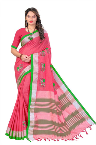 Red Color Linen Cotton Saree - SRP-112Red
