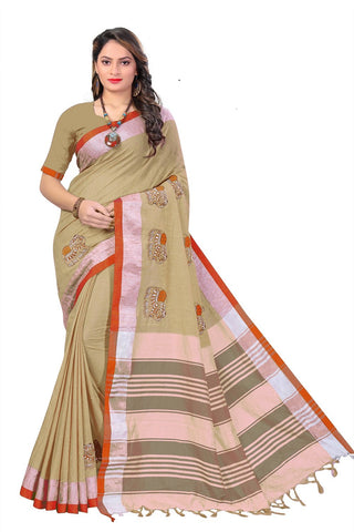 Chiku Color Linen Cotton Saree - SRP-112chikku