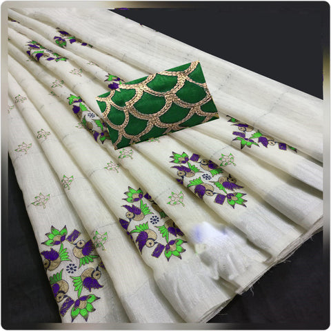 Cream Color Resam Linen Cotton Saree - SRP-113-BGreen