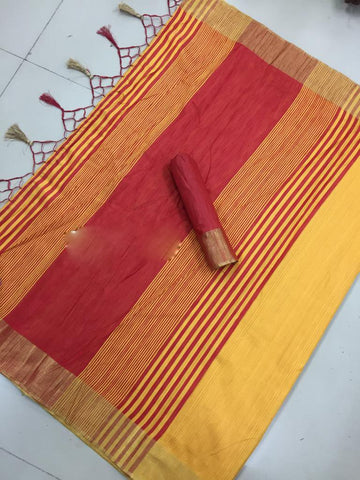 Yellow Color Poly Cotton Silk Saree - SRP-115 Yellow