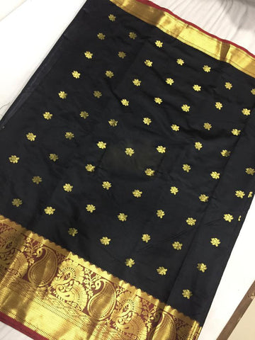 Black Color Aura Cotton Silk Saree - SRP-120BahubaliButtaBlack