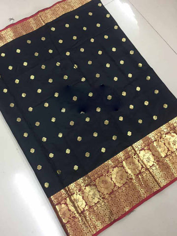 Black Color Aura Cotton Silk Saree - SRP-121BahubaliButt2Black