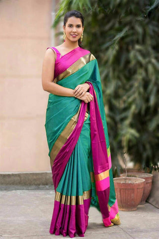 Turquoise Green And Pink Color Cotton Silk Saree - SRP-13TurquioseGreenPink