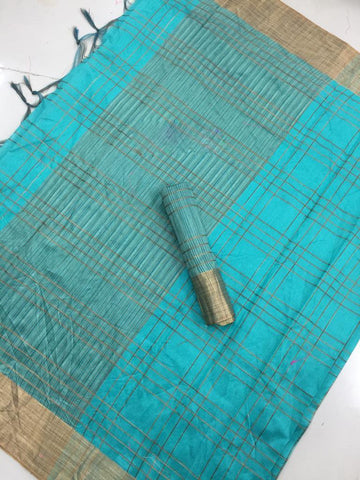 Turquoise Color Medium Soft Poly Cotton Saree - SRP-13 Turquoise