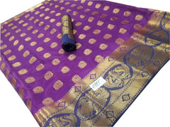Buy Violet Color Kanchivaram Nylon Silk With Jacquard Saree