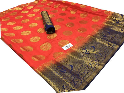 Orange Color Kanchivaram Nylon Silk With Jacquard Saree - SRP-147Orange