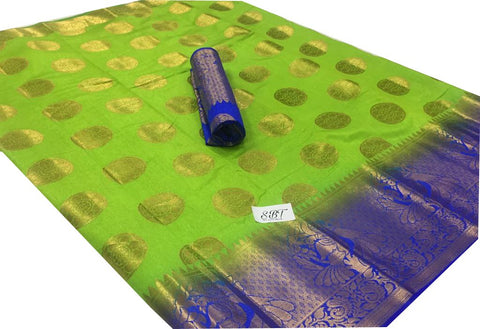 Parrot Green Color Kanchivaram Nylon Silk With Jacquard Saree - SRP-147Parrot