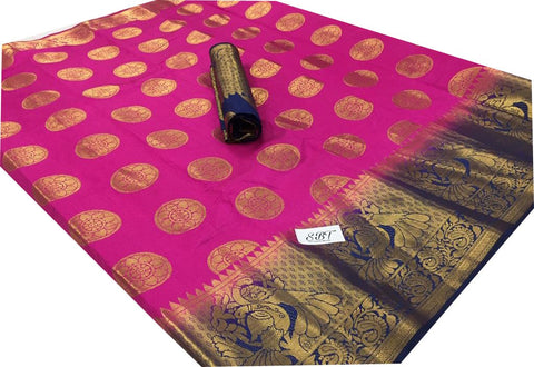 Pink Color Kanchivaram Nylon Silk With Jacquard Saree - SRP-147Pink