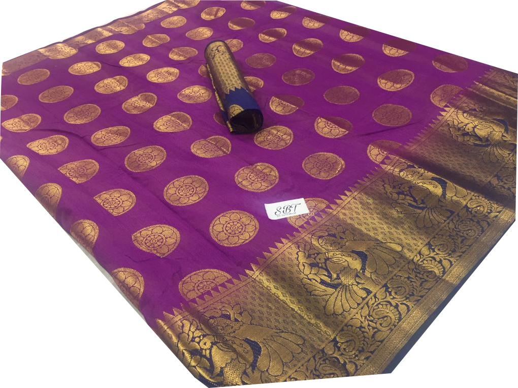 Buy Purple Color Kanchivaram Nylon Silk With Jacquard Saree