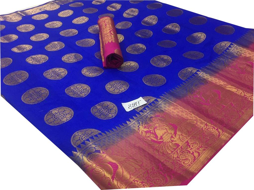 Buy Royal Blue Color Kanchivaram Nylon Silk With Jacquard Saree