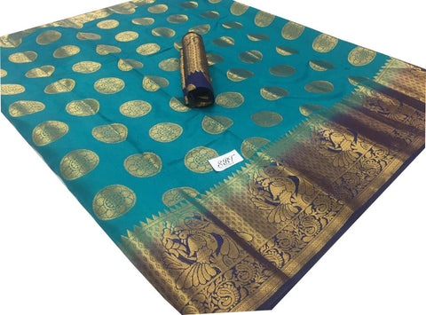 Sky Blue Color Kanchivaram Nylon Silk With Jacquard Saree - SRP-147Skyblue