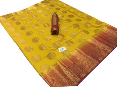 Buy Yellow Color Kanchivaram Nylon Silk With Jacquard Saree