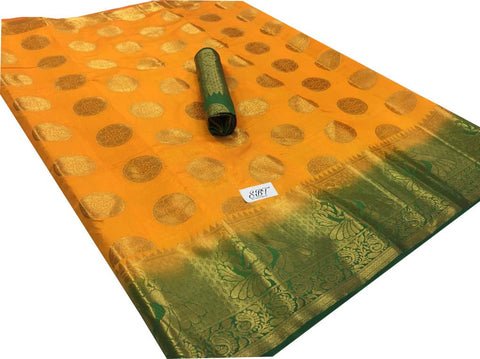 Yellow Color Kanchivaram Nylon Silk With Jacquard Saree - SRP-147Yellow