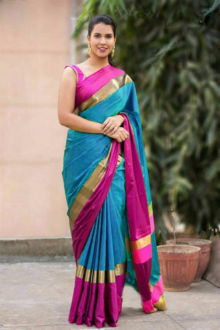 Aqua Blue And Pink Color Cotton Silk Saree - SRP-14AquaBluePink
