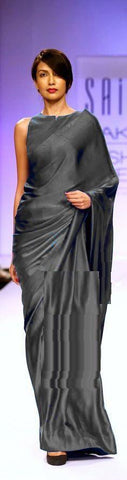 Dark Grey Color Satin Saree - SRP-14SatinDarkGray