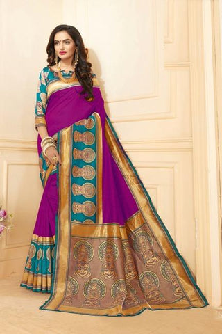 Rani Pink Color Art Silk Saree - SRP-15-AS-Rani