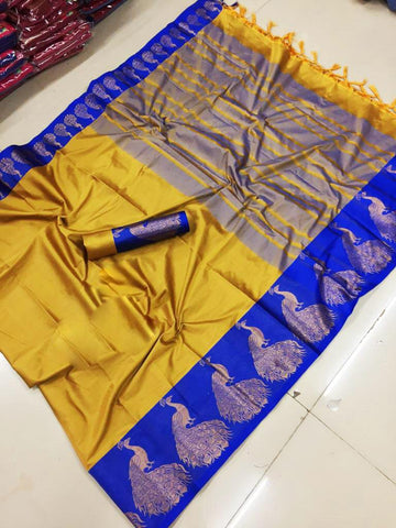 Yellow Color Cotton Silk Saree  - SRP-155-Yellow
