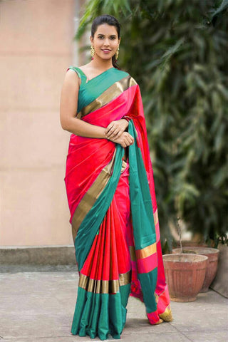 Red And Green Color Cotton Silk Saree - SRP-15RedGreen