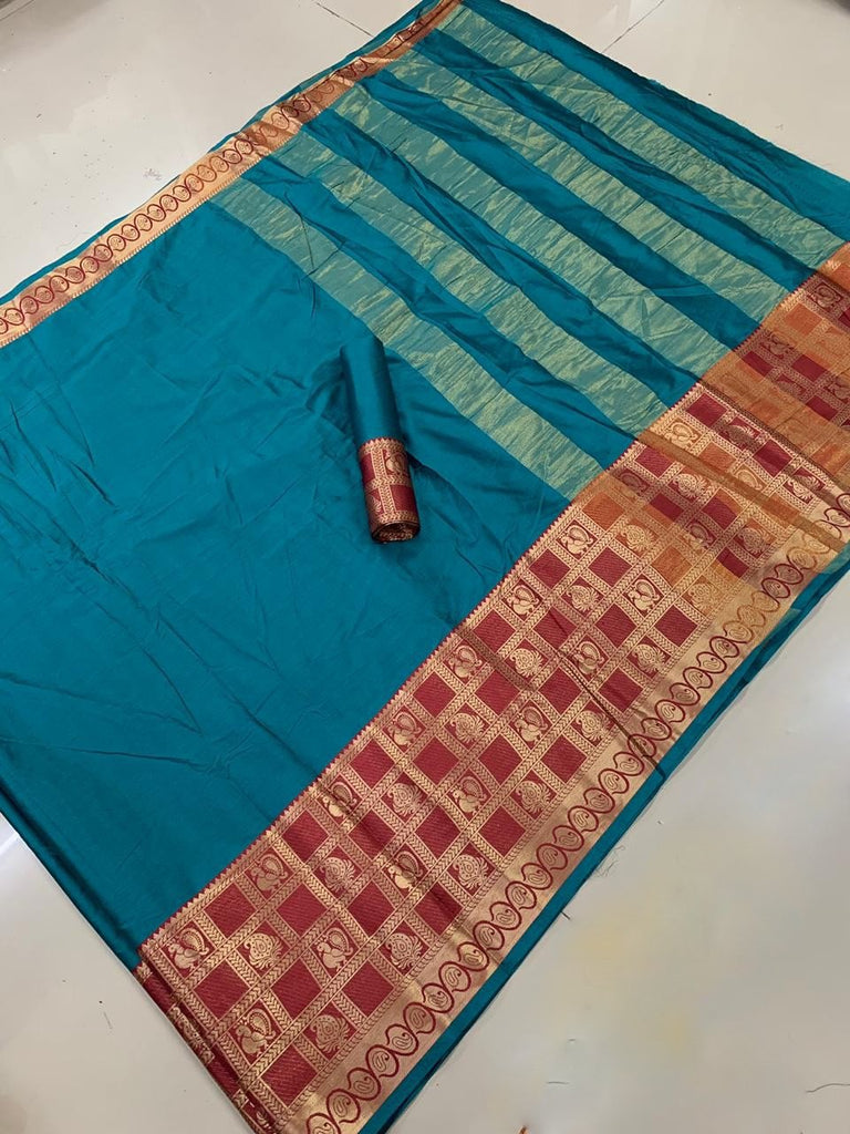 Buy Rama Color Cotton Silk Saree
