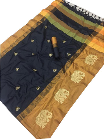 Black and Orange Color Cotton Silk Saree  - SRP-188-Black-Orange