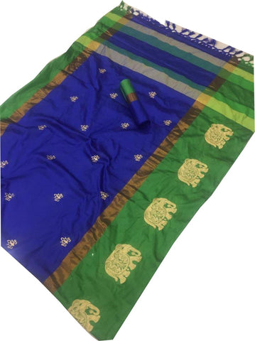 Blue Color Cotton Silk Saree  - SRP-188-Blue
