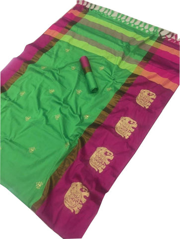 Pista Color Cotton Silk Saree  - SRP-188-Pista