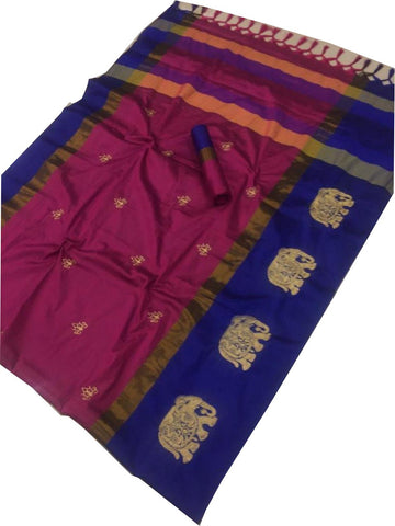 Rani Color Cotton Silk Saree  - SRP-188-Rani